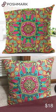 """Bohemian style pillowcase set/2 Woven Linen Geometric Cushion Cover  Sofa,Car, and Home Decorative pillowcase   Size 18""""X18""""  New condition Other"""