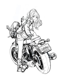 Fantastic Moto bike photos are available on our website. Art And Illustration, Character Illustration, Art Moto, Anime Motorcycle, Art Du Croquis, Art Manga, Poses References, Bike Art, Anime Sketch