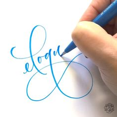 Modern Calligraphy by Chrystal Elizabeth using a Pentel Brush Tip Sign Pen hand lettering drawing Eloquent 💙 Calligraphy Video, Calligraphy Tutorial, Hand Lettering Tutorial, How To Write Calligraphy, Calligraphy Handwriting, Calligraphy Letters, Modern Calligraphy, Penmanship, Creative Lettering