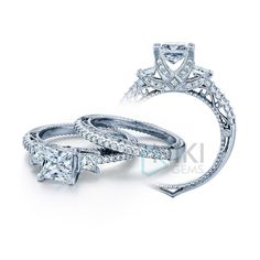 925 Sterling Silver CZ three stone ring Vintage style ring Wedding band sets Beautiful Shank ring