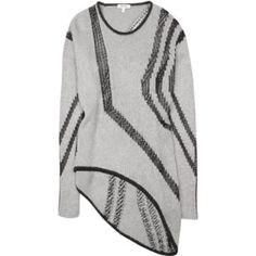 Helmut Lang intarsia grey black sweater Sz m Hard to find Helmut Lang asymmetrical intarsia soft cozy sweater. Color is grey and black. Size medium. Great condition. Light normal fuzzies. Helmut Lang Sweaters Crew & Scoop Necks