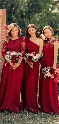 Mismatched Dark Red Chiffon Cheap Bridesmaid Dresses Online, WG633 Dark Red Bridesmaid Dresses, Cheap Bridesmaid Dresses Online, Red Bridesmaids, Cheap Homecoming Dresses, Bridesmaid Gowns, Pnina Wedding Dresses, December Wedding Dresses, Dress Vestidos, Chiffon Dresses