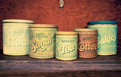 5 Piece Vintage Circa 1977 Kitchen Tin Canister by TheUrbanBarn, $64.00 original Vintage kitchen décor mid century etsy shops antique colorful unique one of a kind 50s 60s 70s cute gift for her for him rusty rustic primitive barn farm country home farmhouse weddings wedding decoration