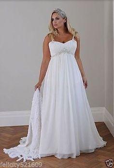 New Spaghetti Strap Chiffon Bridal Gown Wedding Dress Stock Plus Size 14-26
