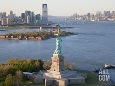 Statue of Liberty (Jersey City, Hudson River, Ellis Island and Manhattan Behind), New York, USA, by Peter Adams