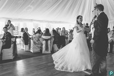 Bride and groom have their first dance at Parley Manor. Documentary wedding photography by Dorset wedding photographer Paul Underhill.