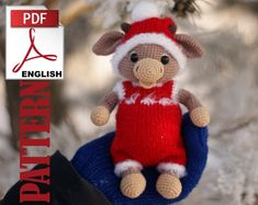 PLEASE NOTE THIS LISTING IS FOR CROCHET PATTERN NOT ACTUAL TOY. This listing is for crochet bull toys. The Christmas overalls and hat are included in the pattern. LANGUAGE: English I recommend it as an intermediate pattern. The instructions are detailed and easy to follow if you know the basic Christmas Knitting, Crochet Christmas, Knitting Increase, Knitting Patterns, Crochet Patterns, Old Towels, Dk Weight Yarn, Chunky Yarn, Amigurumi Doll