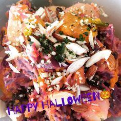 Happy Halloween Salad  Sweet but healthy treat for you!  #sweetpotato #pumpkin #potato #almonds #hempseeds #raisins #salad #healthy #vegetables #halloween #さつまいも #かぼちゃ #ジャガイモ #サラダ