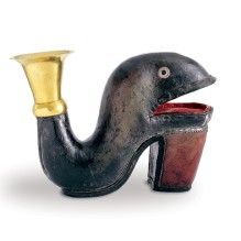 Drinking vessel belonging to Basel's shoemakers' guild  Basel, dated 1661  Leather, mouthpiece made of gold-plated silver