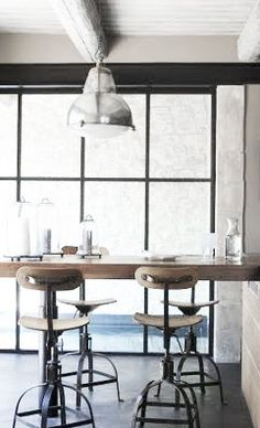 = vintage stools and industrial pendant