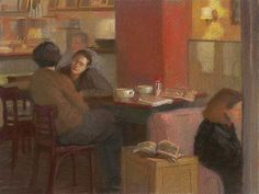 """""""Red Cafe"""" by Sally Strand, Pastel and Mixed Media on Paper, 18 x 24"""""""