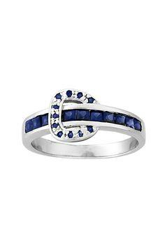 Kelly Herd Elegant Buckle Ring - Sapphire Crystals