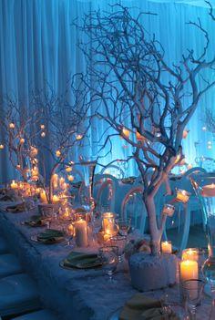Winter Wonderland wedding, candles, Christmas
