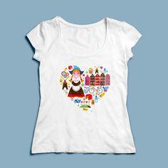 T-shirt Helemaal Hollands | Een 100% katoen single jersey t-shirt verkrijgbaar met v-hals of ronde hals met Hollandse opdruk voor dames! In diverse maten verkrijgbaar.  #kleding #textieldruk #textielprint #opdruk #print #eigenprint #damesshirt #herenshirt #tshirt #shirt #witshirt #dames #nederland #netherlands #holland #oranje #hart #ikhouvanholland