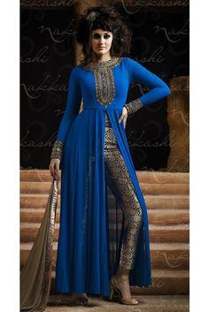 Upscale Blue Embroidered Pakistani Salwar Kameez