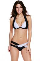 Color Block Push up Bikini 2016 Crisscross cuello women swimsuit Swimwear vendaje vestido de baño