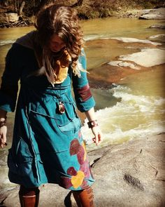 Pebble dress on rocks. #adornyoursoul #forestfashion #sacredadornments #walkingaltar #earthsong #myathensfashion