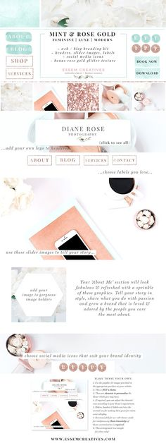 Mint Rose Gold Web Blog Branding Kit by Essem Creatives on @creativemarket 'Mint & Rose Gold Web Blog Branding Kit' contains graphic elements in a minimalist, yet feminine, Mint, White & Rose Gold theme. If you're all set to launch your new brand or blog, or simply want to refresh your existing website, then this Web Blog Branding Kit is the answer to what you've been looking for. Includes website header images, social media icons and buttons, slider photos (stock photos), image holders…