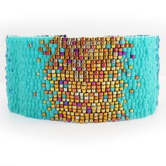 Sparkly Bronze and Blue Ombre Glass Beads Bracelet - Wide Beadwork Bracelet
