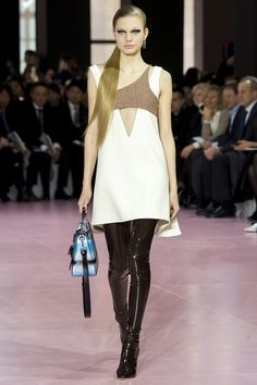 Christian Dior PFW Fall 2015 white dress with cut out, sleek pony, thigh high boots