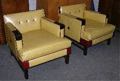 $1795  Lushpad - Pair of Mid Century Gold Leather Chairs