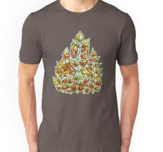 Unisex T-Shirt Hand drawn watercolor golden leaves pattern  from kanvisstyle design  #redbubble,  #flowers , #pattern, #draw, #handdrawn, #watercolor