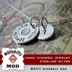Hand Stamped Jewelry Personalized Necklace by wickedlymodpendants