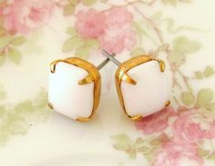 Vintage Milky White Glass Rhinestone Stud Earrings