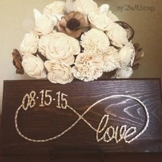 Custom date infinite love string art sign von (door crafts) Diy Projects To Try, Crafts To Do, Art Projects, Arts And Crafts, Door Crafts, Nail String Art, String Crafts, Arte Linear, Cuadros Diy