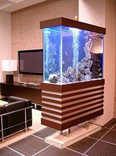 Зонирование квартиры. Террариум или аквариум тоже может заменить перегородку в квартире. Они вполне уместны при разделении гостиной и детской, гостиной и кабинета. Это не только эффектный элемент декора, но и возможность изолировать два помещения друг от друга.