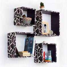 Trista - [Purple Giraffe] Square Leather Wall Shelf / Bookshelf: Includes four open square shelves of four different sizes. Each shelf is covered with faux leather.