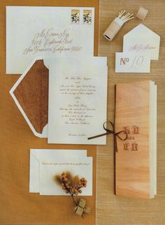 Invitations Katie adores faux bois, and the wood-grain motif was present throughout the day, from the cover of the program (far right), featuring letters that phonetically spell the couple's names, to a miniature barrel of matches (top right). Horse Wedding, Woodsy Wedding, Diy Wedding, Wedding Ideas, Wedding Country, Elegant Wedding, Vineyard Wedding, Wedding Card, Wedding Stuff