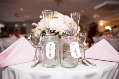 Make his and her bride and groom mason jar mugs for beer at your reception.  Caitlyn and Rob's Hilarious, Emotional, and Craft-Filled Wedding at the Bournedale Function Facility in Plymouth » Fucci's Photos of Boston ...