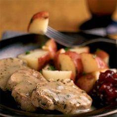 Rosemary Pork Tenderloin - olive oil - pork tenderloin - dry white wine - fresh or dried rosemary - cornstarch