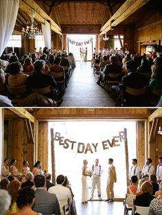 rustic wedding ceremony at Devil's Thumb Ranch