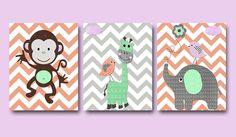 Baby Girl Nursery Decor Art Print Set of 3 11X14 Gray Green Coral Purple by artbynataera on Etsy