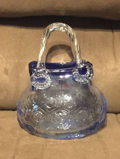 Hand Blown Glass Purse Murano Style Candy Dish Trinkets Decoration