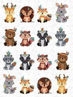 Tribal Animals, Cute Animals, Animals Beautiful, Woodland Creatures, Woodland Animals, Forest Friends, Girl First Birthday, Animal Crafts, Cute Stickers
