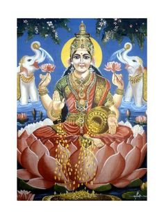 Picture of the Hindu goddess Lakshmi, goddess of wealth, especially worshipped by businessmen. Saraswati Goddess, Indian Artwork, Radha Krishna Pictures, Pretty Pictures, Goddesses, Find Art, Framed Artwork, Watercolor Art, Giclee Print