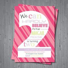 2nd BIRTHDAY, girls invitation - DIGITAL file -