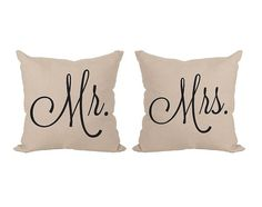 2 x Mr. Mister and Mrs. Missis Cotton Throw Pillow by Daneeyo