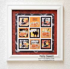 12x12 Wall Collage for Halloween featuring Stampin\' UP! Plaid Tidings and Magic in this Night designer paper with the September 2020 Paper Pumpkin kit. www.PattyStamps.com Halloween Items, Halloween Cards, Halloween Treats, Happy Halloween, Fall Halloween, Square Art, Paper Dimensions, Fall Cards, Paper Pumpkin