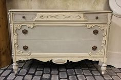 French Linen and Old White Chalk Paint® decorative paint by Annie Sloan on an elegant dresser | By stockist Maison Decor in Boston, MA