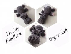 Freddy Flodhest – @Garnialt Crochet Gratis, Crochet Toys, Free Crochet, Knit Crochet, Mini Christmas Tree, Baby Bedroom, Safari Animals, Crochet Animals, Free Pattern