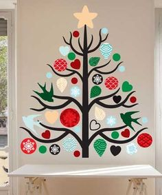 Our Christmas Tree Wall Decal Kit will add a touch of style and and Holiday charm to your home, office, or dorm. The kit contains One large Tree, split into 9 Branches, 3 dove silhouettes, 10 Hearts,