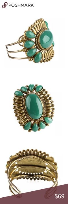 Daslu aged resin cabachon cuff bracelet green Gold plated Duslu cabachon resin cuff bracelet Daslu Jewelry Bracelets