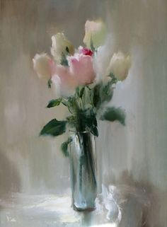 "Saatchi Art Artist: Elena Lukina; Oil 2012 Painting ""Roses in vase"""