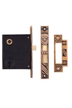 Oriental Mortise Lock w/ Strike Plate #1328 By Charleston Hardware.