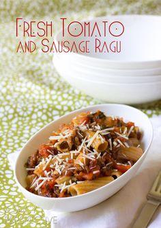 Homemade Pasta Sauce - Ragu Recipe with Tomato and Sausage Recipe