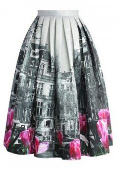 Tulip Town Contrast Print Pleated Midi Skirt - CHICWISH SKIRT COLLECTION - Skirt - Bottoms - Retro, Indie and Unique Fashion